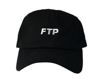 Custom FTP Dad Hat, Hypebeast Style Dad Hat, Black Low Profile Baseball Cap, Tumblr Hat, Streetwear Design Dad Hats Caps