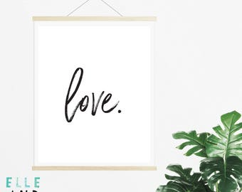 Love // Monochrome // Typography // A4 // A5  // Digital Prints // Home Decor // Scandi // Nordic // I Love You // Calligraphy //
