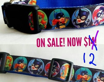 Medium Dog Collar, Villainesses, Bad Girls of Comics, Gift, Super Hero Collar, Ready to Ship, Only One Left