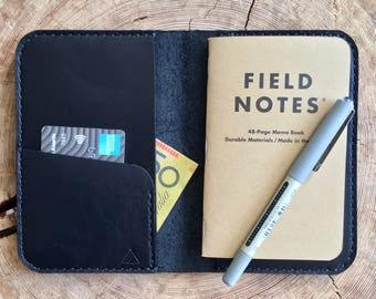Leather Field Notes Cover Black Leather Notebook Wallet Personalised Leather Notebook Cover Leather Wallet Custom Leather Passport Holder