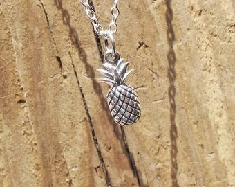Sterling Silver Pineapple Charm Pendant Necklace 925