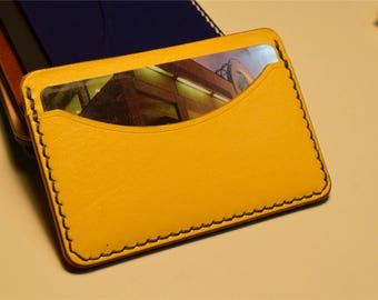 Yellow Kangaroo Leather Card Wallet, Slim Card Wallet, Leather Card Wallet, Personalised