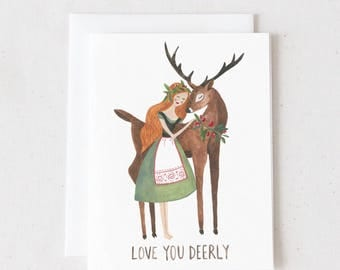 Love You Deerly / Watercolor Greeting Card/ Blank A2 Greeting Card
