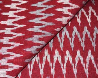 10% Off On Maroon, White and Gray Zig Zag Pattern Ikat Fabric