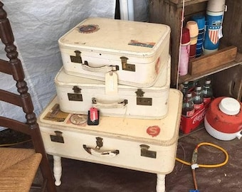 Vintage Cream Suitcases Night Stand Or Bed Side Table