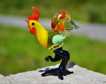Blown Glass chicken rooster new year  2017 gift animal collectible figurine rooster hen cock in glass gift child girl gift Chinese New Year