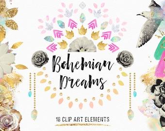 Bohemian Boho Clipart Tribal Clip Art Wanderlust Floral Flowers Mandala Gold Glitter Geometric Moon Arrow Doodles Hippie Modern Wedding Glam