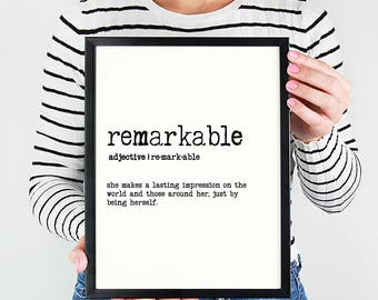 Remarkable Definition Print - 8x10 - Anthem - Mounted Print - Foam Core  - Wood Sign - Print Only - Inspiration - Motivation - Gift for Her