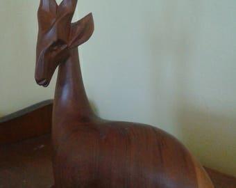 Mid Century Wood Deer/Antelope Carving