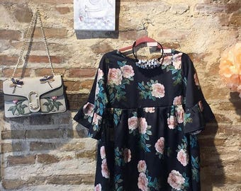 Handmade sweater with roses