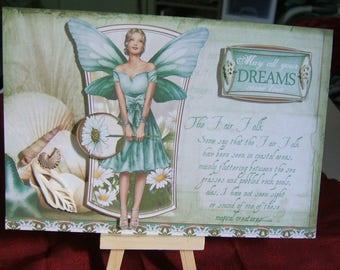 Card, Fairy theme, Hand crafted, Sea, 3D effect, Keepsake, Aqua/Seafoam green, Sea shells,acid free and lignin free cardstock