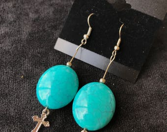 Blue Ovals with Cross Earrings