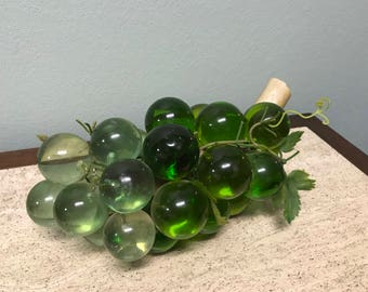 Vintage Green Acrylic Lucite Colored Grape Cluster on Wood