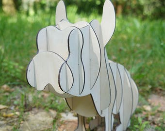 Dog, mops, bulldog,  puzzle 3d, scandinavian. plywood