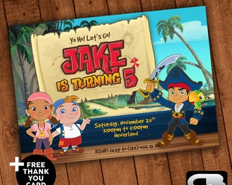 Jake and the Neverland Pirates Invitation - Jake and the Neverland Pirates Invite - Birthday Party - Digital File Download