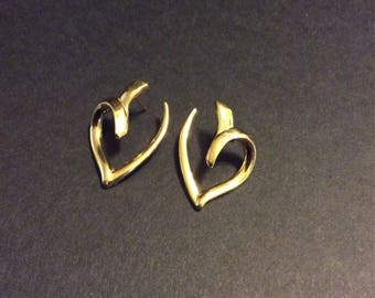 SIGNED Monet, Gold Tone Open-Heart stud earrings
