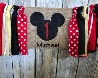 Mickey Mouse Birthday, Mickey Mouse First Birthday, High Chair Birthday Banner, First Birthday Banner, Mickey Mouse High Chair Banner