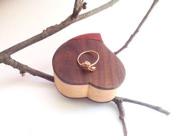 Free Laser Engraved Ring Box Heart Ring Box Engagement Ring Wedding Ring Box Proposal Ring Box for Her Ring Box for Wedding or Engagement