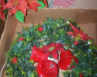 "Vintage 16"" Plastic Christmas Wreath and Poinsettia Bouquet"