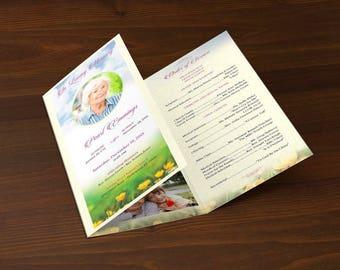 Memories Tri-Fold Funeral Program Publisher Template