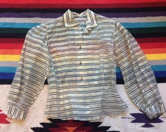 50's Sheer Striped and Shiny Blouse