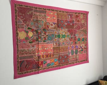 Pink girly or student room decorative wall hanging, multicolour patchwork wall decor, Indian tapestry, WH0050