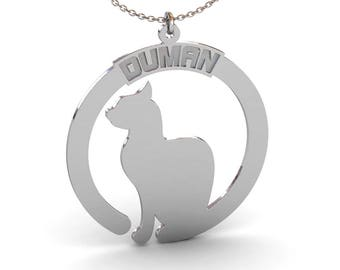 Engraved Cat Name Necklace in Sterling Silver Metal, Custom Cat Name Necklace, Cat Tail Necklace, Cat Necklace, Cat Jewelry, Cat Lover Gift