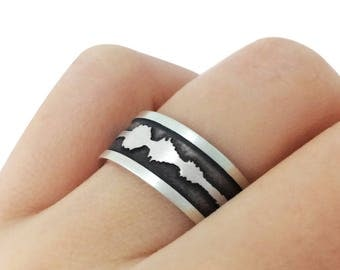 Personalized Sound Band Ring in Sterling Silver Metal, Engraved Soundwave Band Ring, Waveform Wedding Ring, Voice Band Ring