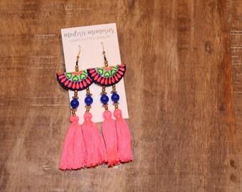 Boho Cotton Tassel Earrings   Pink Tassel Earrings   Colorful Boho Earrings, Tassel Dangle Earrings, Tribal Earrings