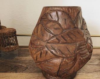Vintage handcarved wood vase / solid wood vase decor