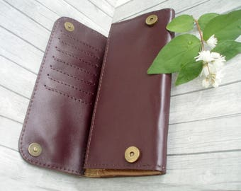 Burgundy women wallet leather Card holder coin purse slim wallet genuine leather wallet zippered wallet minimalist wallet womens gifts
