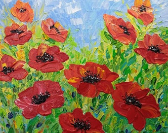 Abstract Floral Art, Acrylic Painting, Original Canvas Art, Poppies Painting, Red Flowers, Palette Knife, Textured Painting, Impasto, 10x10