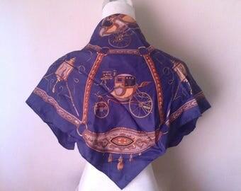 Classy Foulard/80s vintage foulard/italian style scarf/Quite similar to Hermès foulards/Carré classic motif foulard/elegant chic/Blue,Copper