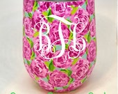 Monogram Stemless, Lilly style, Stainless Steel Wine Glass with Lid, Monogrammed Lilly wine tumbler, Personalized Rose wine double wall cup