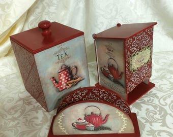 Кухонный комплект набор  - чайный домик , салфетница , короб для печенья или конфет Kitchen complete set