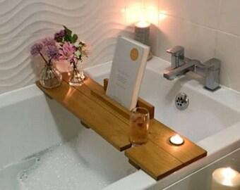 Bath Caddy, Bath Shelf, Bath Plank, Bath Board, Bath Tray, Book, Ipad, Wine, Birthday gift, pamper, spa, gift for her