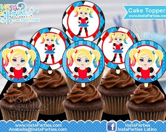 Harley Quinn cupcake toppers DIGITAL harlequin download cake topper toper superhero superheroes suicide squad tags labels Birthday Party