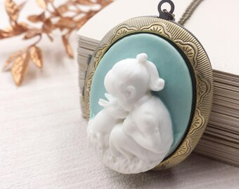 Girl and Rabbit Cameo Locket Necklace, Large Oval Locket, Victorian Style, Blue Brass Photo Locket, Gift for Her