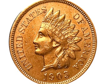1903 Indian Head Cent - AU / BU - 3 1/2 Diamonds