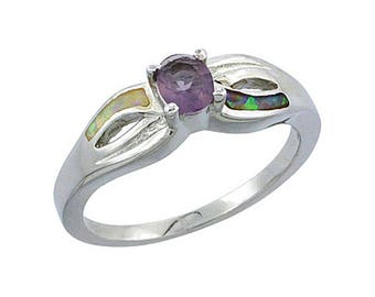 Sterling Silver Blue Opal Solitaire Ring Amethyst CZ Accent