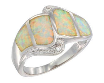 Sterling Silver White Opal Statement Ring CZ Accent