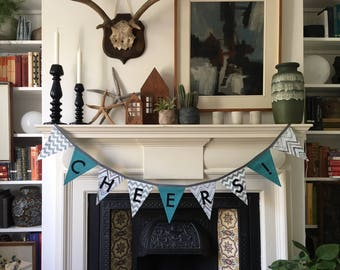 Cheers! Green, Grey, Black and White Fabric Bunting Garland Flag Banner Decoration - Handmade by BNTNG