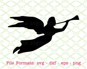 Angel SVG, Dxf, Eps & Png. Digital Cut Files for Cricut, Silhouette; Flying Angel with Trumpet Svg, Angel Silhouette, Angel Christmas Svg