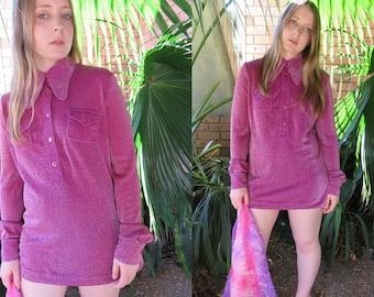 70s Disco Glam Purple Oversized Shirt / Long Sleeve Lurex Glitter / Button Up Mini Dress