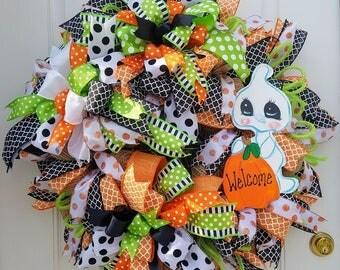 Halloween Ghost Wreath, Ghost Door Decor, Halloween Wall Decor, Porch Wreath, Fall  Door Wreath,  Ghost Welcome Wreath, Cute Ghost Wreath
