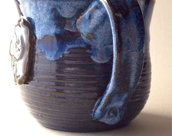 11 oz. Bright Blue Crab Ceramic Mug, Wheel thrown One of a kind. Small Batch pottery.