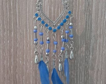 Ethnic Necklace blue feathers
