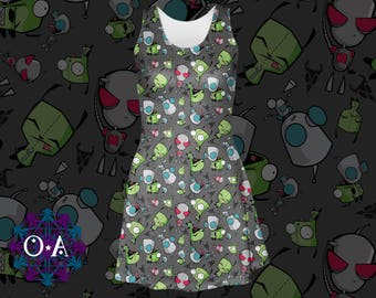 Gir Dress - Invader Zim Dress Skater Dress Robot Dog Dress Alien Dress Irken Dress Cartoon Dress Plus Size Dress Comicon Dress Invader Dress