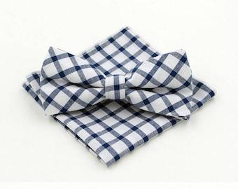 Check Bow Tie & Pocket Square Set