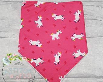 Unicorn dribble Bib, Baby Dribble Bib, Teething Bib, Bandana Bib, Baby Gift, Baby Shower, Unicorns